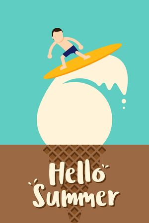Summer time and happy holiday poster template background. A teenager surfing on an ice cream, vector illustration 일러스트