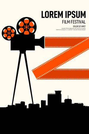 Movie and film poster design template background with cityscape. Graphic design element template can be used for backdrop, brochure, leaflet, flyer, print, publication, vector illustration