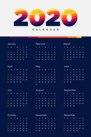 Calendar 2020 design template week starts from Sunday decorative with modern colorful stripe line, vector illustration