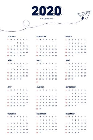 Calendar 2020 design template week starts from Sunday modern minimal style isolated on white background, modern minimal style, vector illustration Illustration