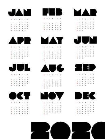 Calendar 2020 design template for a year, week starts from Sunday decorative geometric number isolated on white background, modern minimal simple style, vector illustration