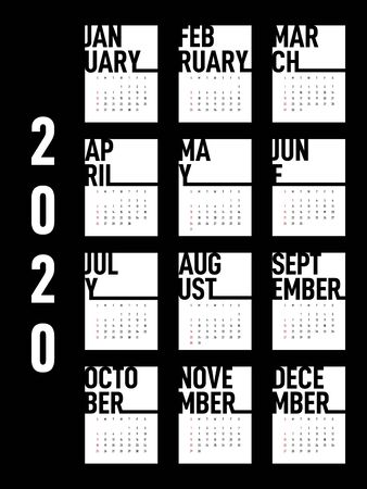 Calendar 2020 design template for a year, week starts from Sunday modern minimal style on white background, modern minimal simple style, vector illustration