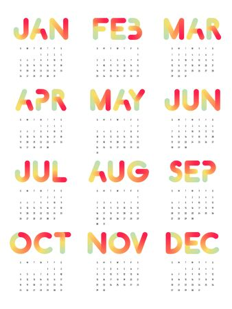 Calendar 2020 design template for a year, week starts from Sunday modern minimal style decorative with gradient typography, vector illustration