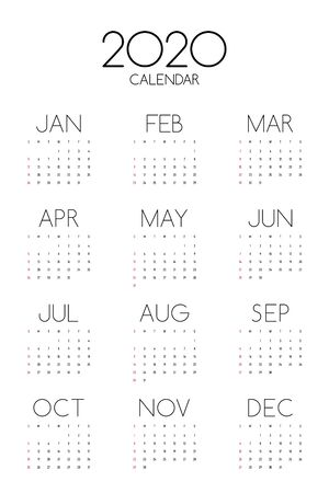 Calendar 2020 design template for a year, week starts from Sunday modern minimal style, vector illustration