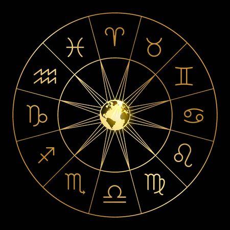 Signos del zodíaco aislados sobre fondo negro. Símbolo de icono de horóscopo de astrología, ilustración vectorial Ilustración de vector