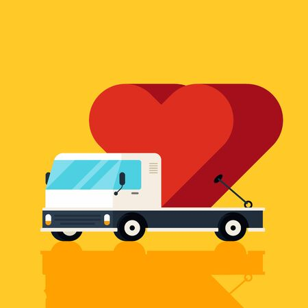 Happy valentine's day concept decorative with a red heart on a truck flat design. Graphic design element can be used for poster, backdrop, publication, brochure, banner, vector illustration Ilustrace