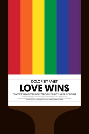 LGBT community poster design template background decorative with rainbow stripe line and paintbrush, vector illustration