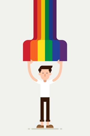 LGBT community poster design template background with a man holding rainbow flag. Graphic design element can be used for backdrop, banner, brochure, leaflet, publication, vector illustration