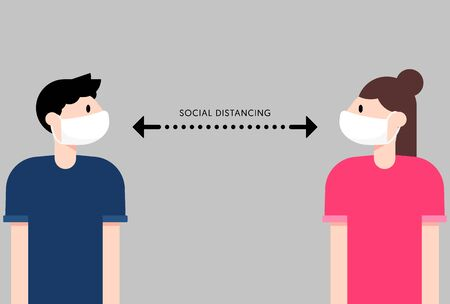 Social distancing concept, people keep distance away from each other to limit spread of COVID-19 or Coronavirus flat design, vector illustration