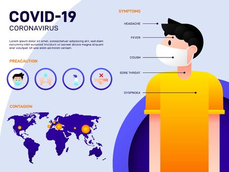 COVID-19 Coronavirus outbreak infographic template design, the information consist of symptom, precaution, contagion of the disease, vector illustration
