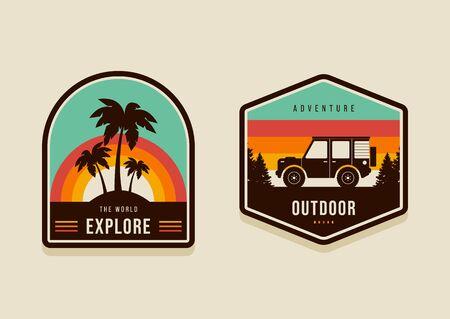 Set of summer travel badges and explore the world concept modern vintage retro style, vector illustration Illusztráció