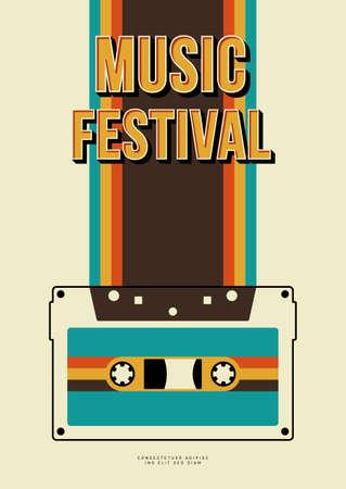Music poster design template background with cassette tape and vintage stripe line. Design element template can be used for backdrop, banner, brochure, leaflet, print, publication, vector illustration