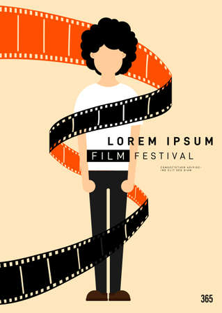 Movie and film poster design template background with young man and filmstrip. Design element can be used for backdrop, banner, brochure, leaflet, flyer, print, publication, vector illustration Illusztráció
