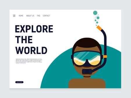 Travel landing page, website template design decorative with vacation concept modern flat design, vector illustration