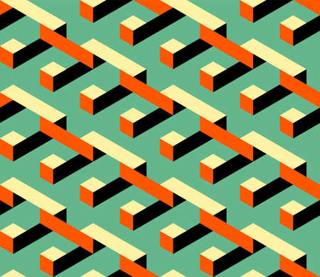 Abstract isometric geometric shape seamless pattern background modern art style. Graphic design element can be used for backdrop, wallpaper, brochure, flyer, leaflet, vector illustration