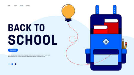 Back to school landing page website template design decorative with school bag and light bulb. Can be used for webpage, homepage, user interface, backdrop, wallpaper, vector illustration