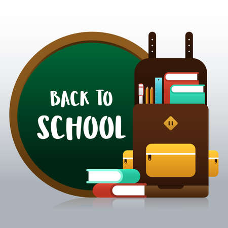 Back to school concept background decorative with various school stationery. Design element template can be used for banner, backdrop, wallpaper, vector illustration