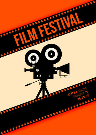 Movie and film poster design template background with vintage camera and filmstrip. Design element can be used for backdrop, banner, brochure, leaflet, flyer, print, publication, vector illustration