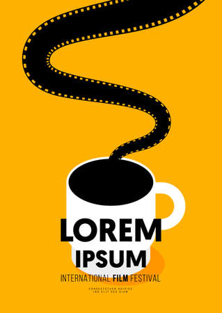 Movie and film poster design template background with coffee cup and filmstrip. Design element can be used for backdrop, banner, brochure, leaflet, flyer, print, publication, vector illustration