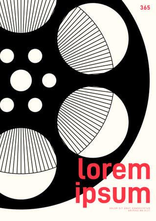 Movie and film poster design template background with film reel vintage retro style. Design element can be used for backdrop, banner, brochure, leaflet, flyer, print, publication, vector illustration