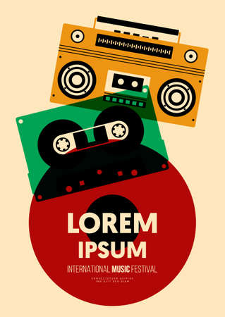 Music poster design template background with transparent cassette tape, boombox, vinyl record. Design element template can be used for backdrop, banner, brochure, leaflet, print, vector illustration