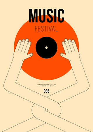 Music poster design template background with vinyl record and hand outline. Design element template can be used for backdrop, banner, brochure, leaflet, print, publication, vector illustration