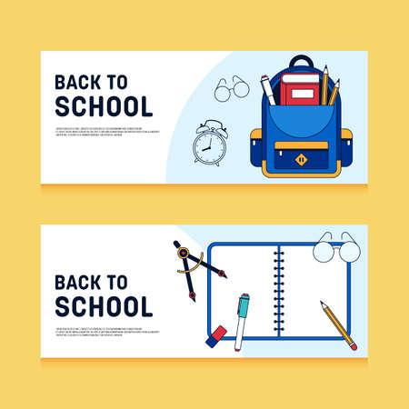 Back to school concept banner background decorative with various school stationery flat design, vector illustration Illusztráció