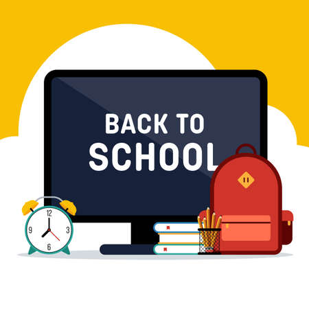 Back to school e-learning concept background decorative with various school stationery flat design. Design element template can be used for banner, backdrop, wallpaper, vector illustration Illusztráció