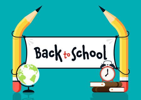 Back to school concept background decorative with various school stationery flat design. Design element template can be used for banner, backdrop, wallpaper, vector illustration