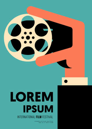 Movie and film poster design template background with a man holding film reel. Design element can be used for backdrop, banner, brochure, leaflet, flyer, print, publication, vector illustration