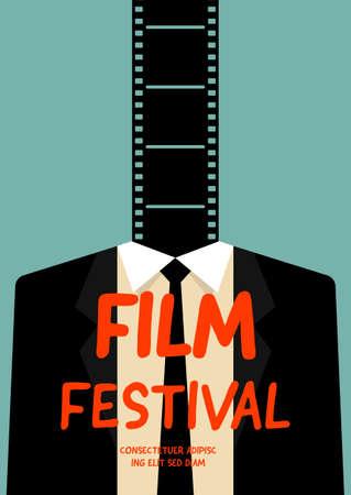 Movie and film poster design template background with filmstrip and businessman. Design element can be used for backdrop, banner, brochure, leaflet, flyer, print, publication, vector illustration