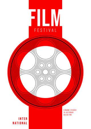 Movie and film poster design template background with film reel and line pattern. Design element can be used for backdrop, banner, brochure, leaflet, flyer, print, publication, vector illustration Ilustração