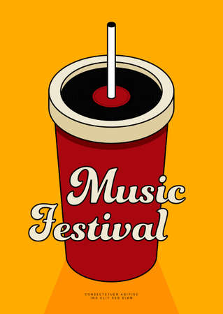 Music poster design template background with vinyl record and  isometric cup of soda. Design element template can be used for backdrop, banner, brochure, leaflet, publication, vector illustration