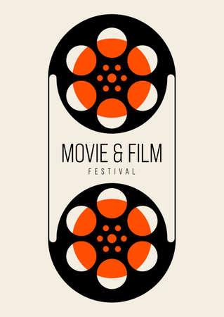 Movie and film poster design template background vintage film reel. Graphic design element can be used for backdrop, banner, brochure, leaflet, flyer, print, publication, vector illustration