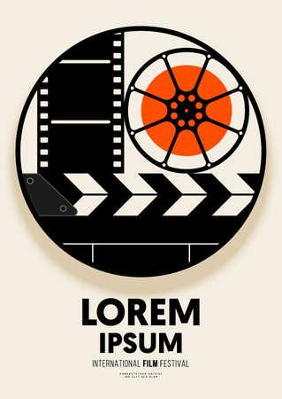 Movie and film poster design template background vintage film element. Graphic design element can be used for backdrop, banner, brochure, leaflet, flyer, print, publication, vector illustration Illusztráció