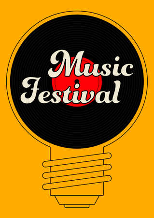 Music poster design template background with vinyl record and light bulb. Design element template can be used for backdrop, banner, brochure, leaflet, print, publication, vector illustration