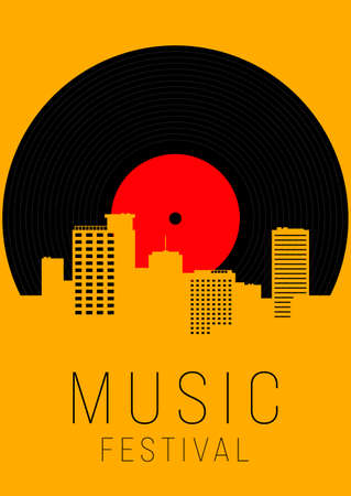 Music poster design template background with vinyl record and urban cityscape. Design element template can be used for backdrop, banner, brochure, leaflet, print, publication, vector illustration