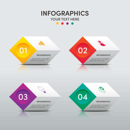 Modern infographic business template and data visualization with 4 options. Design element can be used for workflow, information design, communication, statistical graphic, EPS10 vector illustration Illusztráció