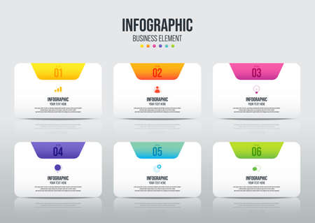 Modern infographic business template and data visualization with 6 options. Design element can be used for workflow, information design, communication, statistical graphic, EPS10 vector illustration