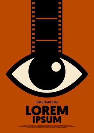 Movie and film poster design template background vintage retro style. Graphic design element can be used for backdrop, banner, brochure, leaflet, flyer, print, publication, vector illustration