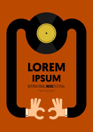 Music poster design template background with vinyl record vintage retro style. Design element template can be used for backdrop, banner, brochure, leaflet, print, publication, vector illustration