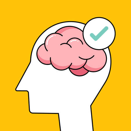 Mental health awareness psychology concept with human brain outline flat design style.