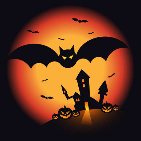Halloween night scenery background decorative with pumpkin, castle, and bats. Design element for Halloween party poster, greeting card, brochure, wallpaper, backdrop, vector illustration