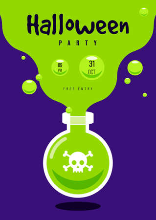 Happy halloween party flyer template design decorative with poison pot isolated on green background flat design style, vector illustration