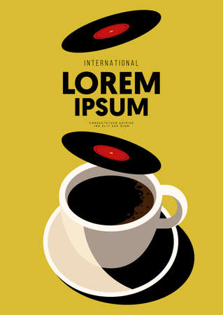 Music poster design template background with gramophone record and coffee cup. Design element template can be used for backdrop, banner, brochure, leaflet, print, publication, vector illustration 向量圖像