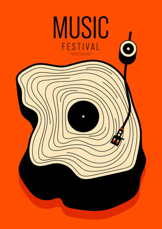 Music poster design template background with vintage vinyl record and stump. Design element template can be used for backdrop, banner, brochure, leaflet, print, publication, vector illustration Çizim