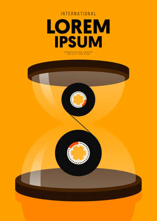 Music poster design template background decorative with cassette tape inside hourglass. Graphic design element can be used for backdrop, banner, brochure, leaflet, publication, vector illustration