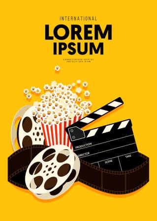 Movie and film poster design template background with popcorn, filmstrip, clapperboard. Can be used for backdrop, banner, brochure, leaflet, flyer, print, publication, vector illustration