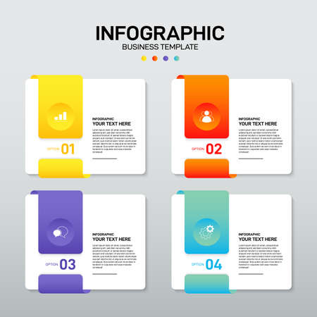 Modern infographic business template and data visualization with 4 options. Design element can be used for workflow, information design, communication, statistical graphic, vector illustration 일러스트