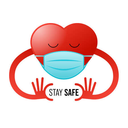 Prevent outbreak of COVID-19 or Coronavirus disease concept decorative with heart character wearing sanitary mask, vector illustration 일러스트
